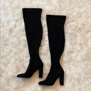 Steve Madden Emotions Black Suede Thigh-High Boots